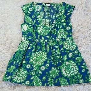 J Crew Green Peplum Floral print Cotton Top Sz. 0